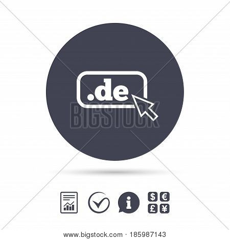 Domain DE sign icon. Top-level internet domain symbol with cursor pointer. Report document, information and check tick icons. Currency exchange. Vector