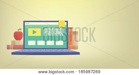 Banner E-learning With Laptop, Learning Through An Online Network. With Many Book Background Illustr