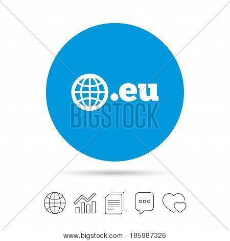 Domain EU sign icon. Top-level internet domain symbol with globe. Copy files, chat speech bubble and chart web icons. Vector