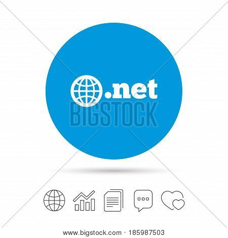 Domain NET sign icon. Top-level internet domain symbol with globe. Copy files, chat speech bubble and chart web icons. Vector