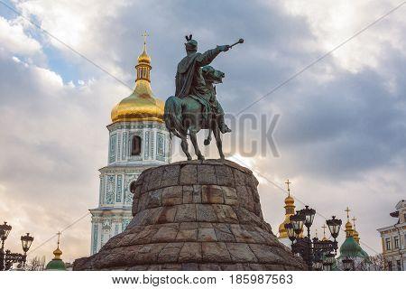 Bohdan Khmelnytsky Monument, Saint Sophia Cathedral, view from Sophia square. Kiev Ukraine