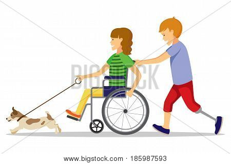 Disabled people and friend. Happy handicapped children. A disabled girl and a disabled boy play with a dog.
