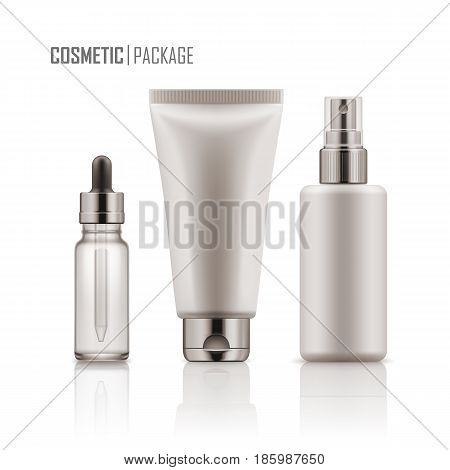 Set of realistic empty packages for skincare cosmetic. Collection of blank template of container plastic tube for cream, glass bottle for essence or serum, spray. Vector mockup isolated on white