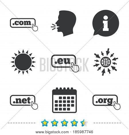 Top-level internet domain icons. Com, Eu, Net and Org symbols with hand pointer. Unique DNS names. Information, go to web and calendar icons. Sun and loud speak symbol. Vector