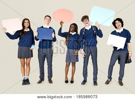 Group of Diverse Students Showing Speech Bubbles Studio Portrait