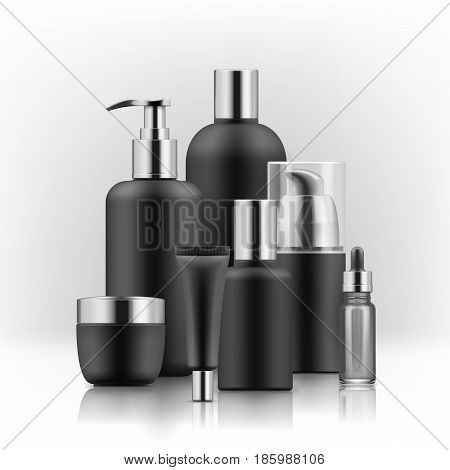 Realistic luxury gamorous set of cosmetic bottles in gold and black isolated on white background, mockup, 3D illustration for branding design and ads, template, beauty and hygiene concept