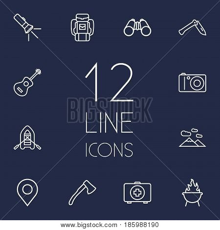 Set Of 12 Camping Outline Icons Set.Collection Of Rubber Boat, Mountains, Penknife And Other Elements.