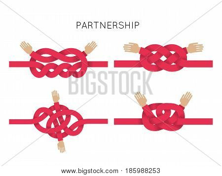 Rope Knots Collection. Hand Drawn Decorative elements. Vector illustration with different hitches and bends.