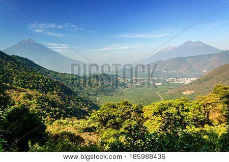 Three volcanoes: Agua, Fuego & Acatenango near Antigua, Guatemala, Central America