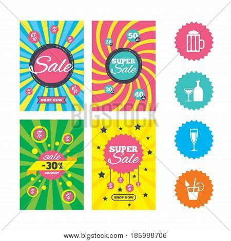 Web banners and sale posters. Alcoholic drinks icons. Champagne sparkling wine and beer symbols. Wine glass and cocktail signs. Special offer and discount tags. Vector