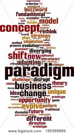 Paradigm word cloud concept. Vector illustration on white