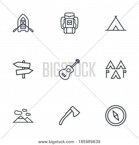 Set Of 9 Camping Outline Icons Set.Collection Of Compass, Guidepost, Encampment And Other Elements.