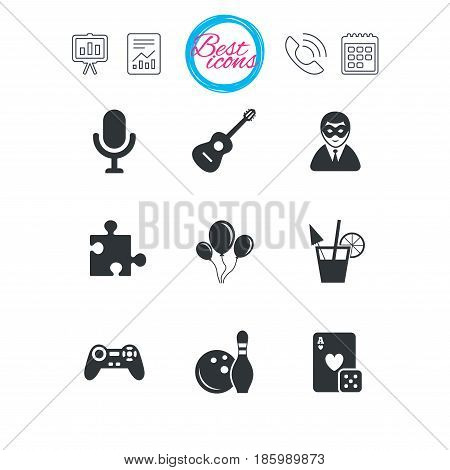 Presentation, report and calendar signs. Game, bowling and puzzle icons. Entertainment signs. Casino, carnival and alcohol cocktail symbols. Classic simple flat web icons. Vector