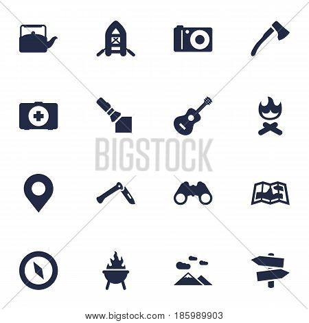 Set Of 16 Camping Icons Set.Collection Of Jackknife, Kettle, Acoustic And Other Elements.