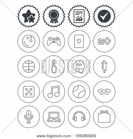 Report, check tick and award signs. Entertainment icons. Game console joystick, notebook and microphone symbols. Poker playing card, dice and mask thin outline signs. Vector