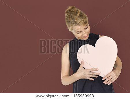 Heart Love Adore Affection Blonde Woman poster