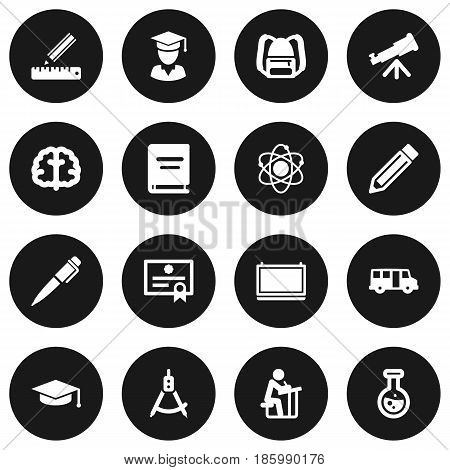 Set Of 16 Studies Icons Set.Collection Of Academic Hat, Certificate, School Autobus And Other Elements.