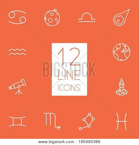Set Of 12 Horoscope Outline Icons Set.Collection Of Moon, Scorpion, Libra And Other Elements.