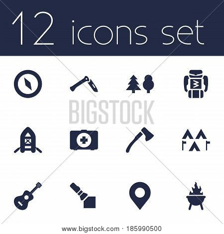 Set Of 12 Outdoor Icons Set.Collection Of Inflatable Raft, Tree, Acoustic And Other Elements.