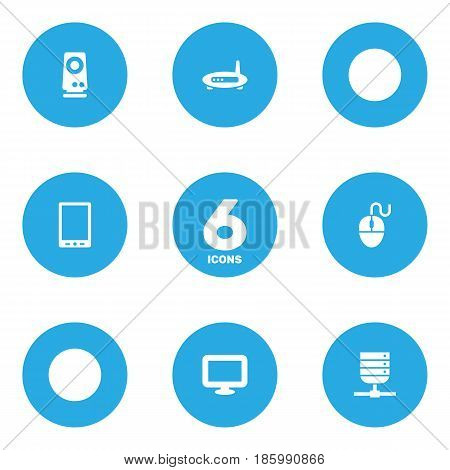 Set Of 6 Notebook Icons Set.Collection Of Display, Control Device, Amplifier And Other Elements.