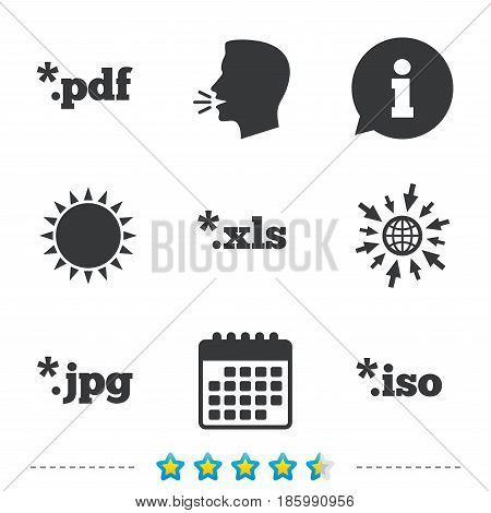 Document icons. File extensions symbols. PDF, XLS, JPG and ISO virtual drive signs. Information, go to web and calendar icons. Sun and loud speak symbol. Vector