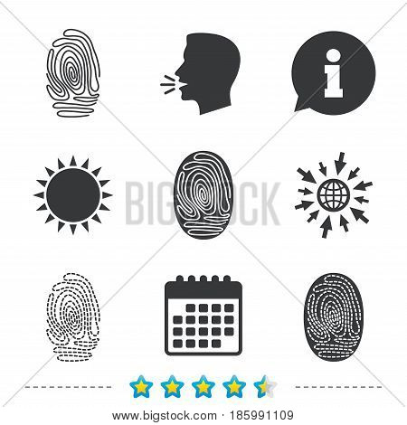 Fingerprint icons. Identification or authentication symbols. Biometric human dabs signs. Information, go to web and calendar icons. Sun and loud speak symbol. Vector