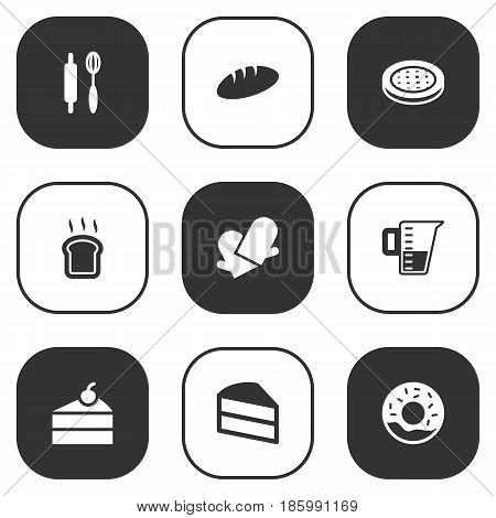 Set Of 9 Oven Icons Set.Collection Of Potholders, Cake, Measurement And Other Elements.