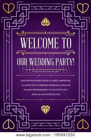 Great Quality Style Invitation in Art Deco or Nouveau Epoch 1920's Gangster Era Style Vector