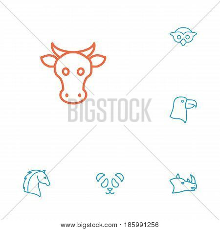 Set Of 6 Brute Outline Icons Set.Collection Of Feline Bear, Cow, Eagle And Other Elements.