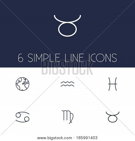 Set Of 6 Horoscope Outline Icons Set.Collection Of Pisces, Globe, Cancer And Other Elements.