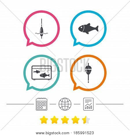 Fishing icons. Fish with fishermen hook sign. Float bobber symbol. Aquarium icon. Calendar, internet globe and report linear icons. Star vote ranking. Vector