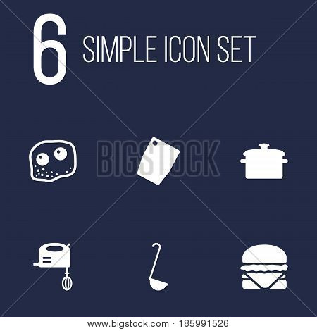 Set Of 6 Cooking Icons Set.Collection Of Blender, Scoop, Cutting Surface And Other Elements.