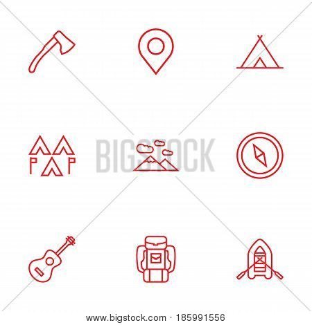 Set Of 9 Picnic Outline Icons Set.Collection Of Ax, Shelter, Encampment And Other Elements.