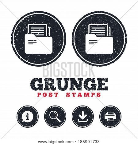 Grunge post stamps. Document folder sign. Accounting binder symbol. Bookkeeping management. Information, download and printer signs. Aged texture web buttons. Vector
