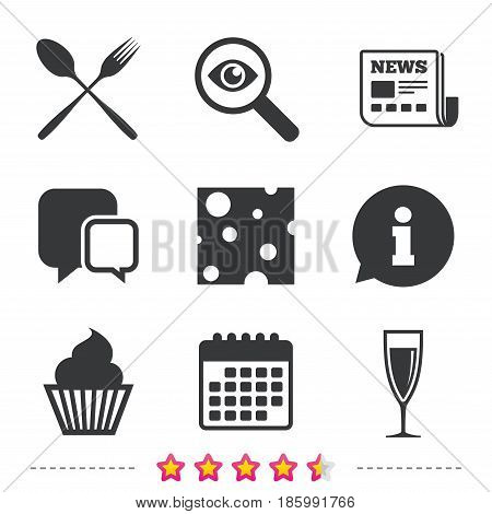 Food icons. Muffin cupcake symbol. Fork and spoon sign. Glass of champagne or wine. Slice of cheese. Newspaper, information and calendar icons. Investigate magnifier, chat symbol. Vector