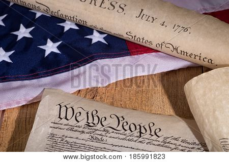 Preamble and declaration of independence with United States flag