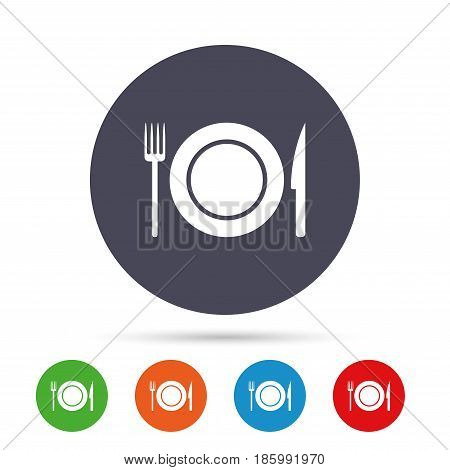 Food sign icon. Cutlery symbol. Knife and fork, dish. Round colourful buttons with flat icons. Vector
