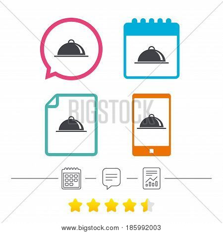 Food platter serving sign icon. Table setting in restaurant symbol. Calendar, chat speech bubble and report linear icons. Star vote ranking. Vector