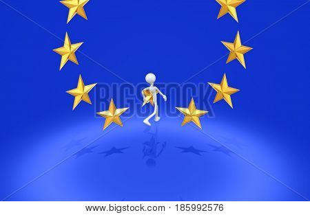 Leaving The European Union Concept With The Original 3D Character Illustration