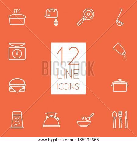 Set Of 12 Culinary Outline Icons Set.Collection Of Scales, Salt, Ladle And Other Elements.