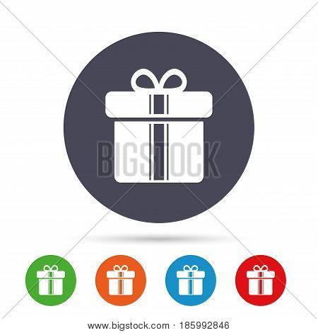 Gift box sign icon. Present with ribbons symbol. Round colourful buttons with flat icons. Vector