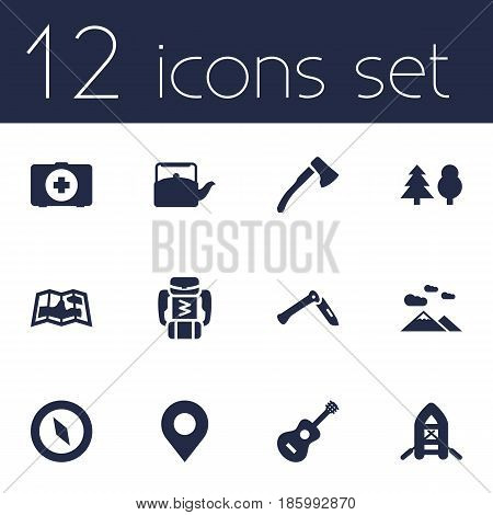 Set Of 12 Camping Icons Set.Collection Of Kettle, Jackknife, Backpack And Other Elements.