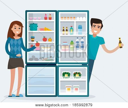 Man and woman with fridge. Open refrigerator with food. Flat style vector illustration.
