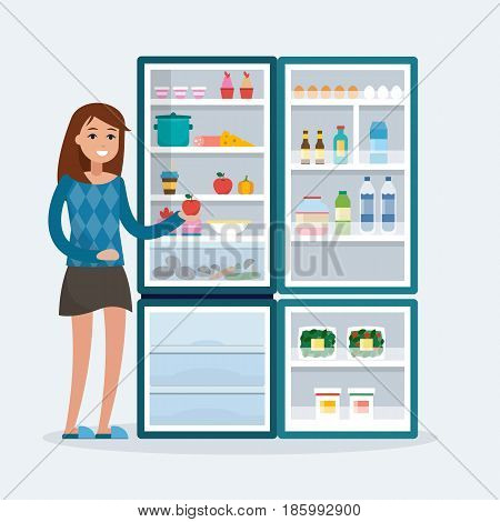 woman with fridge. Open refrigerator with food. Flat style vector illustration.