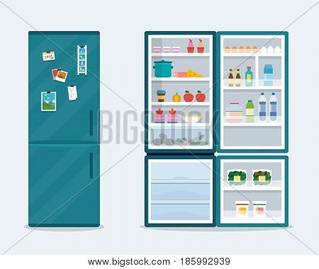 Open and close fridge. Refrigerator with food. Flat style vector illustration.