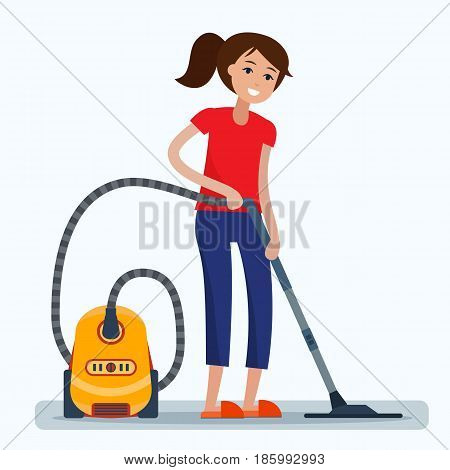 Woman cleaning room with vacuum cleaner. Flat style vector illustration.