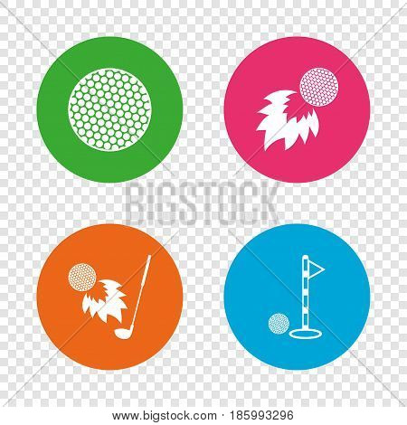 Golf ball icons. Fireball with club sign. Luxury sport symbol. Round buttons on transparent background. Vector