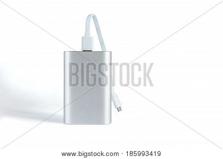 Power Bank With White Cord Isolated On A White Background