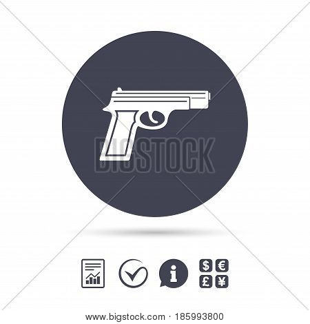 Gun sign icon. Firearms weapon symbol. Report document, information and check tick icons. Currency exchange. Vector