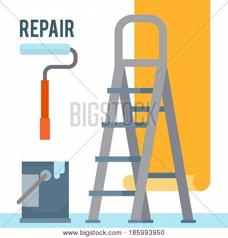 Room repair in home. Interior renovation. Hang wallpaper. Flat style vector illustration.